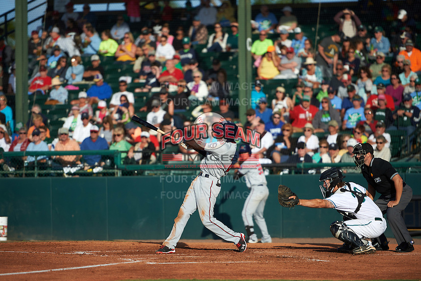 Fort Myers Miracle shortstop Nick Gordon (2) at bat in front of catcher Garrett Boulware and umpire Ben Sontag during a game against the Daytona Tortugas on April 17, 2016 at Jackie Robinson Ballpark in Daytona, Florida.  Fort Myers defeated Daytona 9-0.  (Mike Janes/Four Seam Images)