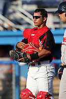 Batavia Muckdogs catcher Roberto Espinoza (41) during a game vs. the Lowell Spinners at Dwyer Stadium in Batavia, New York July 16, 2010.   Batavia defeated Lowell 5-4 with a walk off RBI single in the bottom of the 9th inning.  Photo By Mike Janes/Four Seam Images
