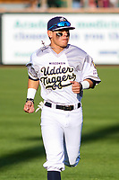 Wisconsin Timber Rattlers outfielder Jesus Lujano (7) warms up prior to a Midwest League game against the Clinton LumberKings on June 20, 2019 at Fox Cities Stadium in Appleton, Wisconsin. Wisconsin defeated Clinton 5-2. (Brad Krause/Four Seam Images)