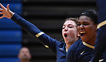 Althoff players Katie Wemhoener (left) and Payton Jackson celebrate after Althoff scored. Althoff lost to Minooka in the championship game of the O'Fallon Class 4A volleyball sectional at O'Fallon HS in O'Fallon, IL on November 6, 2019.<br /> Tim Vizer/Special to STLhighschoolsports.com