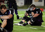 ROME, GA - DECEMBER 18: Corey DeBey #52 of the University of Sioux Falls cant hold back the tears after the Cougars lost to Carroll College 10-7 at Barron Stadium in the 2010 NAIA National Football Championship in Rome, GA.(photo by Dave Eggen/Inertia)