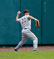 Minnesota Gophers outfielder Trip Schultz #22 fields the ball during a game against the USF Bulls at the Big Ten/Big East Challenge at Al Lang Stadium on February 19, 2012 in St. Petersburg, Florida.  (Mike Janes/Four Seam Images)