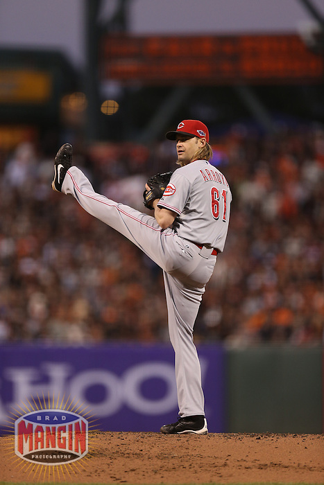 SAN FRANCISCO - OCTOBER 7:  Bronson Arroyo of the Cincinnati Reds pitches during Game 2 of the NLDS against the San Francisco Giants at AT&T Park on October 7, 2012 in San Francisco, California. (Photo by Brad Mangin)