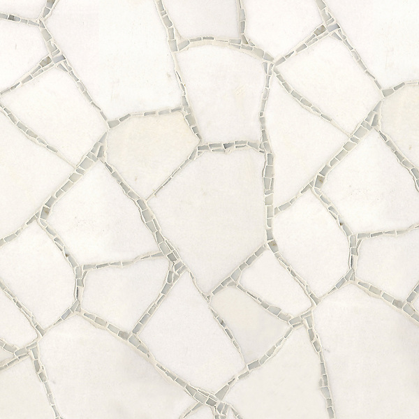 Path, a handmade mosaic shown in Thassos and Calacatta, is part of the Metamorphosis Collection by Sara Baldwin for New Ravenna.