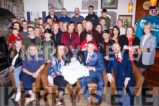 Enjoying the christening party of baby Oisin O&rsquo;Sullivan from Doon Tralee in the Ashe Hotel on Saturday evening last. <br /> Seated L-r, Niamh Stack (Godmother), Mom and Dad Andrea Moriarty, baby Oisin and Gary O&rsquo;Sullivan and Stephen O&rsquo;Sullivan (Godfather).