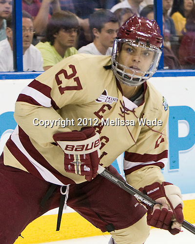Quinn Smith (BC - 27) - The Boston College Eagles defeated the Ferris State University Bulldogs 4-1 (EN) in the 2012 Frozen Four final to win the national championship on Saturday, April 7, 2012, at the Tampa Bay Times Forum in Tampa, Florida.
