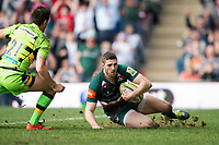 Jonah Holmes of Leicester Tigers looks to score a try but the score is soon ruled out by the referee. Aviva Premiership match, between Leicester Tigers and Northampton Saints on April 14, 2018 at Welford Road in Leicester, England. Photo by: Patrick Khachfe / JMP