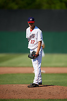 Auburn Doubledays relief pitcher Connor Zwetsch (37) delivers a pitch during a game against the Batavia Muckdogs on June 17, 2018 at Falcon Park in Auburn, New York.  Auburn defeated Batavia 10-8.  (Mike Janes/Four Seam Images)