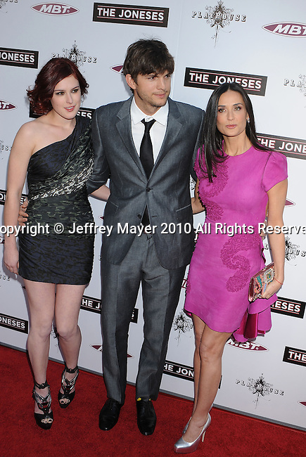 """HOLLYWOOD, CA. - April 08: Rumer Willis, Ashton Kutcher and Demi Moore  arrive to """"The Jonses"""" Los Angeles Premiere at ArcLight Cinemas on April 8, 2010 in Hollywood, California."""