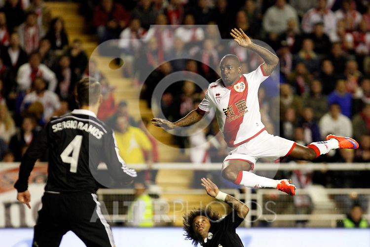 Fatau of Rayo Vallecano during La Liga match between Rayo Vallecano and Real Madrid at Vallecas Stadium in Madrid, Spain. April 08, 2015. (ALTERPHOTOS/Caro Marin)