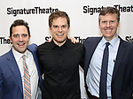 Oliver Butler, Michael C. Hall and Will Eno attend the Off-Broadway Opening Night of the Signature Theatre's 'Thom Pain' at the Signature Theatre on November 11, 2018 in New York City.