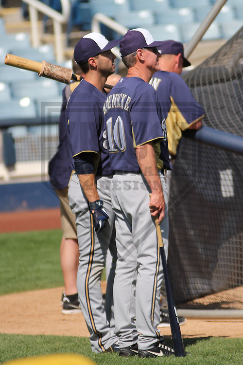 MARYVALE - March 2013: Ryan Braun (8) and Ron Roenicke (10)  of the Milwaukee Brewers during a Spring Training practice on March 17, 2013 at Maryvale Baseball Park in Maryvale, Arizona. (Photo by Brad Krause). .