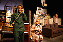 London, UK. 17.07.2014. Mountview Academy of Theatre Arts presents THE HOUSE OF BLUE LEAVES, by John Guare, directed by Jacqui Somerville, at the Unicorn Theatre, as part of the Postgraduate Season 2014. Picture shows: Tim Gibson (Artie Shaughnessy), Cat Losty (Bunny Flingus) and Rosalinde Case (Bananas Shaughnessy). Photograph © Jane Hobson.