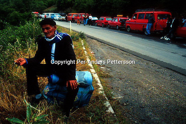 Ethnic Albanian refugees from Kosovo returning from camps in Macedonia on June 21, 1999 near Blace, a border post in Macedonia. Hundreds of thousands of people fled into Macedonia and Albania during the Serb terror of Kosovo..(Photo: Per-Anders Pettersson/ Getty Images)