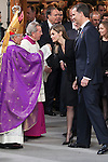 Archbishop of Madrid Rouco Varela (L), Princess Letizia of Spain and Pince Felipe of Spain leave the state funeral for former Spanish prime minister Adolfo Suarez at the Almudena Cathedral in Madrid, Spain. March 31, 2014. (ALTERPHOTOS/Victor Blanco)