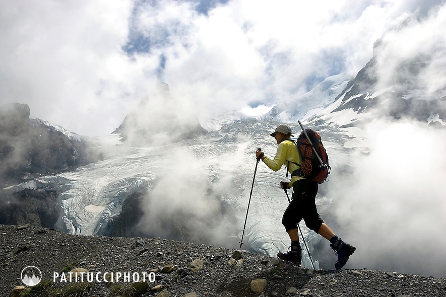 Janine Patitucci hiking to the Bluemlisalp Hut above Kandersteg, Switzerland