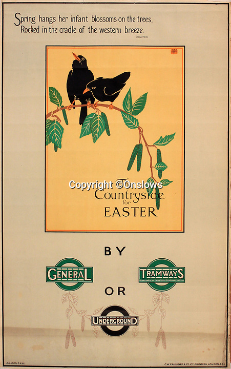 BNPS.co.uk (01202 558833)<br /> Pic: Onslows/BNPS<br /> <br /> Poetry was also deployed to encourage travel to the then leafy town's and villages around the capital.<br /> <br /> A fascinating treasure trove of old London posters are expected to sell at auction for £20,000 after being discovered in a garage.<br /> <br /> They were produced circa 1920 by the Underground Electric Railway Company to promote the capital's underground, tram and bus networks.<br /> <br /> There is also a charming selection of 'London Characters' posters showing different walks of life including a news boy, a zookeeper, a flower woman and a Covent Garden porter.<br /> <br /> The collection of 35 posters were found rolled up in a garage lock up in Kensington, west London, while it was being cleared out.<br /> <br /> The vendor, a lady in her 80s, inherited them many years ago from her late aunt who was an artist in the 1920s and had her own studio.