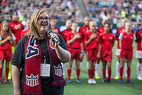 Seattle, WA - Saturday July 16, 2016: National anthem singer prior to a regular season National Women's Soccer League (NWSL) match between the Seattle Reign FC and the Western New York Flash at Memorial Stadium.