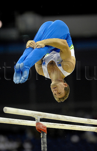 13th October 2009: World Gymnastics Champion ships at the O2 Arena London. Mens Qualifying Competition. Petkovsek of Slovenia.. Photo by Alan Edwards/Actionplus. ..