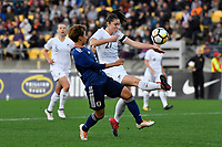 Ferns' Stephanie Skilton and Japan&rsquo;s Mina Tanaka in action during the  International Football - Football Ferns v Japan  at Westpac Stadium, Wellington, New Zealand on Sunday 10 June 2018.<br /> Photo by Masanori Udagawa. <br /> www.photowellington.photoshelter.com