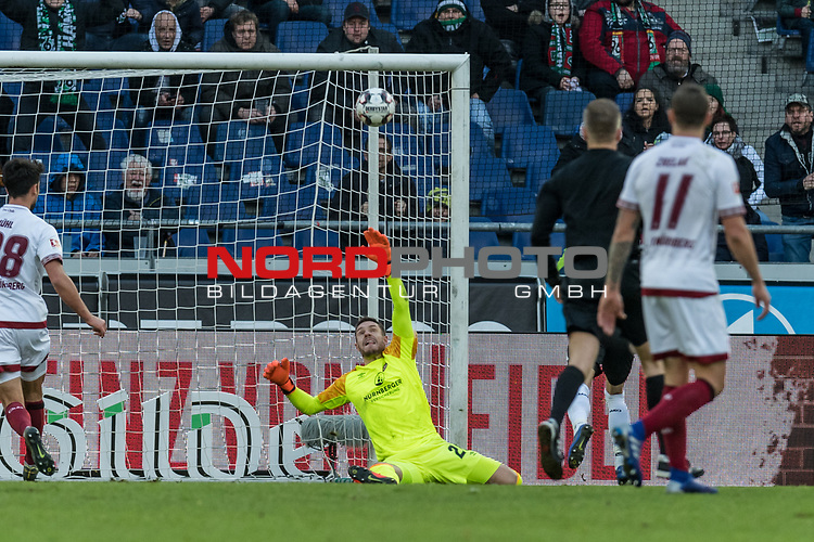 09.02.2019, HDI Arena, Hannover, GER, 1.FBL, Hannover 96 vs 1. FC Nuernberg<br /> <br /> DFL REGULATIONS PROHIBIT ANY USE OF PHOTOGRAPHS AS IMAGE SEQUENCES AND/OR QUASI-VIDEO.<br /> <br /> im Bild / picture shows<br /> Tor 1:0, Nicolai M&uuml;ller / Mueller (Neuzugang Hannover 96 #21) lupft den Ball &uuml;ber Lukas M&uuml;hl / Muehl (Nuernberg #28) hinweg ins Tor zum 1:0 Halbzeitstand, <br /> <br /> Foto &copy; nordphoto / Ewert