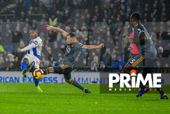 Jose Izquierdo of Brighton & Hove Albion (19) Shoots at goal during the Premier League match between Brighton and Hove Albion and Leicester City at the American Express Community Stadium, Brighton and Hove, England on 24 November 2018. Photo by Edward Thomas / PRiME Media Images.