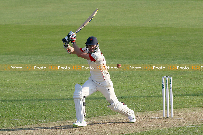 James Anderson hits out for Lancashire during Essex CCC vs Lancashire CCC, Specsavers County Championship Division 1 Cricket at The Cloudfm County Ground on 7th April 2017