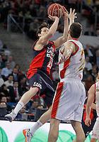 Caja Laboral Baskonia's Thomas Heurtel (l) and CAI Zaragoza's Pedro Llompart during Spanish Basketball King's Cup match.February 07,2013. (ALTERPHOTOS/Acero)