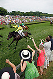 USA, Tennessee, Nashville, Iroquois Steeplechase, spectators cheer on race number three