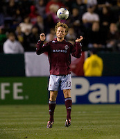 Colorado Rapids defender Stephen Keel (13) heads a ball. The Colorado Rapids defeated the LA Galaxy 1-0 during the preliminary rounds of the 2008 US Open Cup at Home Depot Center stadium in Carson, Calif., on Tuesday, May 27, 2008.