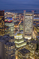 Federal Reserve Building and Northern Avenue, Boston, MA downtown views from Millenium Place dusk view towards South Boston and Seaport