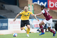 Stephen Humphrys, Southend United, looks to get beyond the defensive attention of Jamal Baptiste, West Ham U21's during Southend United vs West Ham United Under-21, EFL Trophy Football at Roots Hall on 8th September 2020