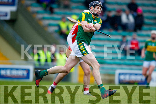 Colm Harty Kerry  in action against Cork in the Co-op Superstores Munster Senior Hurling League on Sunday 14th January in Austin Stack Park, Tralee.