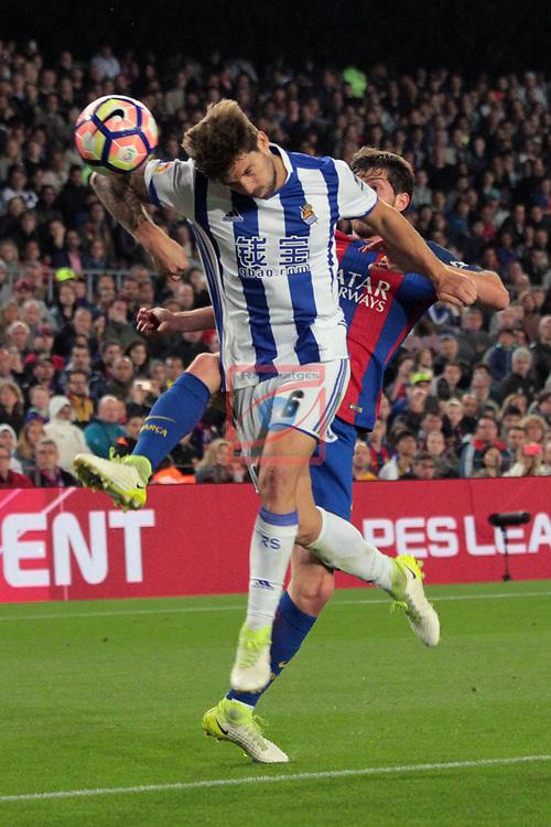 League Santander 2016/2017. Game: 32.<br /> FC Barcelona vs Real Sociedad: 3-2.<br /> I&ntilde;igo Martinez vs Sergi Roberto.