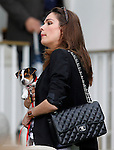 Spanish actress Mar Saura with her dog during 102 International Show Jumping Horse Riding, Gran Prix of Madrid-Volvo Throphy.May, 19, 2012. (ALTERPHOTOS/Acero)