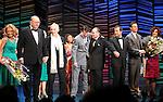 "Dick Latessa, Kristin Chenoweth, Neil Simon, Burt Bacharach, Sean Hayes, Hal David, Rob Ashford, Tony Goldwyn, Fatie Finneran<br />taking a bow on the  Opening Night Broadway performance Curtain Call for ""PROMISES, PROMISES"" at the Broadway Theatre, New York City.<br />April 25, 2010"