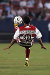 24 July 2007:  Ricardinho (34) of FC Dallas bicycle kicks the ball back towards the goal.  This was Ricardinho's first appearance in an FC Dallas uniform.  FC Dallas tied Chivas de Guadalajara 1-1 at Pizza Hut Park in Frisco, Texas, in the opening match of SuperLiga 2007.