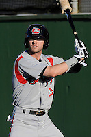 Center fielder Tyler Naquin (6) of the Carolina Mudcats before a game against the Potomac Nationals on Friday, June 21, 2013, at G. Richard Pfitzner Stadium in Woodbridge, Virginia. Naquin was taken by the Cleveland Indians in the first round of the 2012 First-Year Player Draftand is the Indians' No. 3 prospect. Potomac won, 5-1. (Tom Priddy/Four Seam Images)