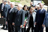 Roma, 3 Maggio 2017<br /> Il Presidente della Germania Frank-Walter Steinmeier, Il Presidente Sergio Mattarella, Virginia Raggi e Angelino Alfano rendono omaggio alle vittime del massacro nazista alle Fosse Ardeatine
