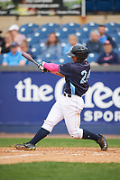 Wilmington Blue Rocks left fielder Anderson Miller (24) hits a home run during the second game of a doubleheader against the Frederick Keys on May 14, 2017 at Daniel S. Frawley Stadium in Wilmington, Delaware.  Wilmington defeated Frederick 3-1.  (Mike Janes/Four Seam Images)
