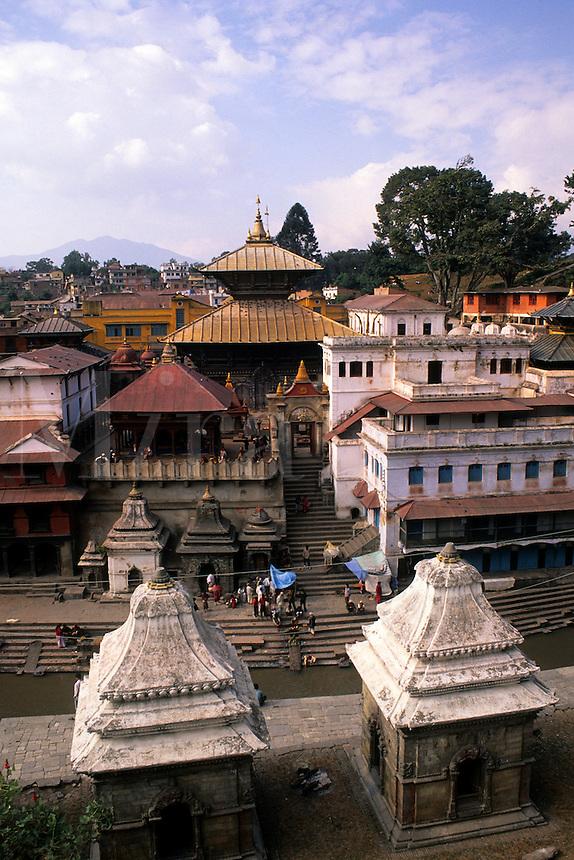 Vista of the Pashupatinath Temple aerial and downtown Kathmandu Nepal Katmandu