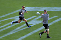 Aaron Smith takes a pass during the 2019 Investec Rugby Championship Series New Zealand All Blacks training session at Westpac Stadium in Wellington, New Zealand on Thursday, 25 July 2019. Photo: Dave Lintott / lintottphoto.co.nz