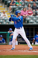 Oklahoma City Dodgers center fielder Trayce Thompson (21) at bat during a game against the Colorado Springs Sky Sox on June 2, 2017 at Chickasaw Bricktown Ballpark in Oklahoma City, Oklahoma.  Colorado Springs defeated Oklahoma City 1-0 in ten innings.  (Mike Janes/Four Seam Images)
