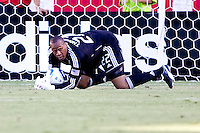 Chivas USA goalkeeper Zach Thornton saves a ball from the net. The Kansas City Wizards defeated CD Chivas USA 2-0 at Home Depot Center stadium in Carson, California on Sunday September 19, 2010.