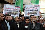 Palestinian Hamas supporters take part in a rally to celebrate the West Bank shooting attack, in Beit Lahia in the northern Gaza Strip March 17, 2019. One Israeli was killed and another two Israelis were critically injured after a Palestinian allegedly carried out a stabbing and shooting attack at the junction of the illegal Israeli settlement of Ariel. Photo by Mahmoud Nasser