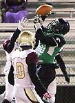 WATERBURY CT. 22 November 2017-112217SV08-#10 Dashaun Wilson of Wilby High makes a catch down field against Sacred Heart/Kaynor at Municipal Stadium in Waterbury Wednesday.<br /> Steven Valenti Republican-American
