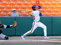 Pinch hitter Matt Reed (25) of the Clemson Tigers hits a double in the seventh inning of a game against the Wofford Terriers on Wednesday, March 6, 2013, at Doug Kingsmore Stadium in Clemson, South Carolina. Clemson won, 9-2. (Tom Priddy/Four Seam Images)