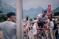 Polka Dot Jersey / KOM leader Julian Alaphilippe (FRA/Quick-Step Floors) rolling up the sign-on stage<br /> <br /> Stage 13: Bourg d'Oisans &gt; Valence (169km)<br /> <br /> 105th Tour de France 2018<br /> &copy;kramon