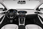 Stock photo of straight dashboard view of a 2017 Hyundai Ioniq Plug-In Hybride Executive 5 Door Hatchback