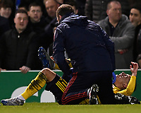 Lucas Torreira of Arsenal winces in pain during Portsmouth vs Arsenal, Emirates FA Cup Football at Fratton Park on 2nd March 2020